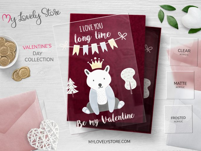 Bear Illustration Transparent Valentine's Day Card