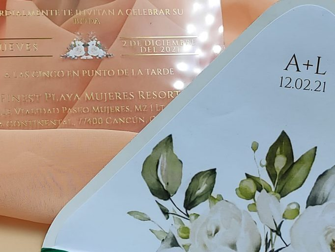 Custom Boxed Floral Acrylic Wedding Invitation Suite, Clear, UV Color, Velvet Envelope, Handmade, My Lovely Store, PHT001