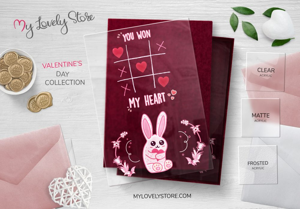 Cute Bunny Acrylic Valentine's Day Cards