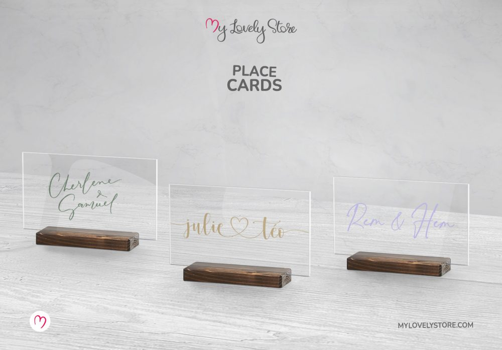 Unique Acrylic Place Cards, Premium Paper Place Cards, Cute Adorable Designs, PLCRD01, My Lovely Store_Wood Stand