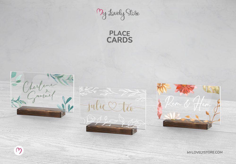 Unique Acrylic Place Cards, Premium Paper Place Cards, Cute Adorable Designs, PLCRD01, My Lovely Store_Wood Stand_Floral